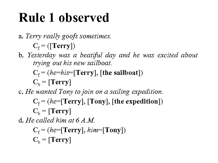 Rule 1 observed a. Terry really goofs sometimes. Cf = ([Terry]) b. Yesterday was