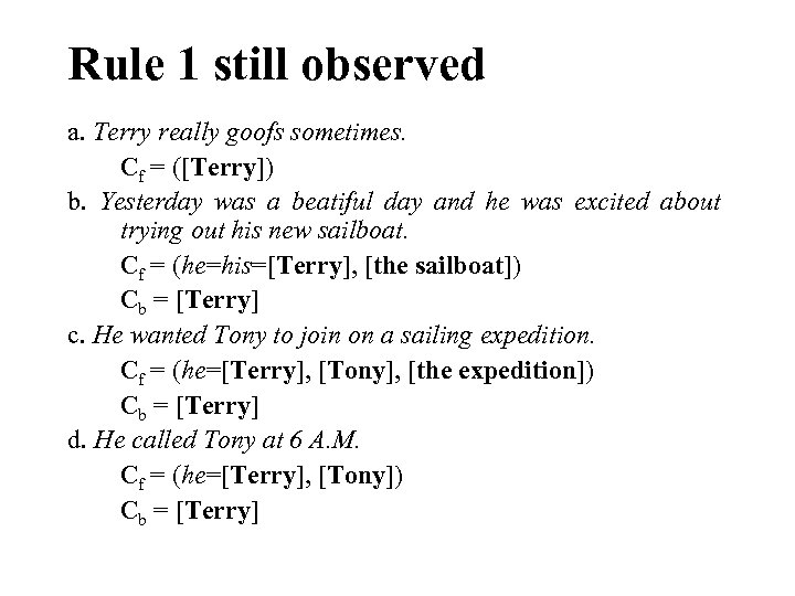 Rule 1 still observed a. Terry really goofs sometimes. Cf = ([Terry]) b. Yesterday