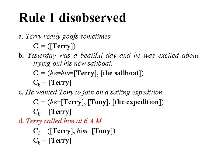 Rule 1 disobserved a. Terry really goofs sometimes. Cf = ([Terry]) b. Yesterday was
