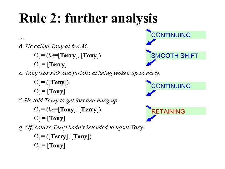 Rule 2: further analysis CONTINUING. . . d. He called Tony at 6 A.