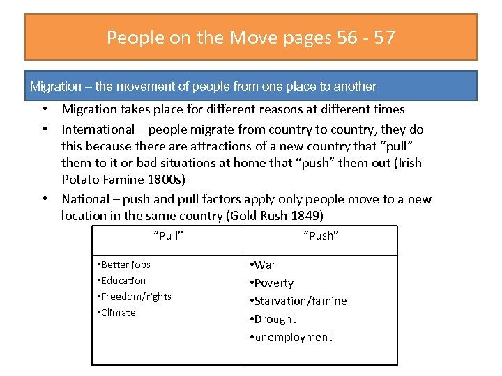 People on the Move pages 56 - 57 Migration – the movement of people