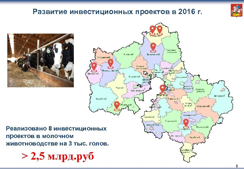 Развитие инвестиционных проектов в 2016 г. Реализовано 8 инвестиционных проектов в молочном животноводстве на