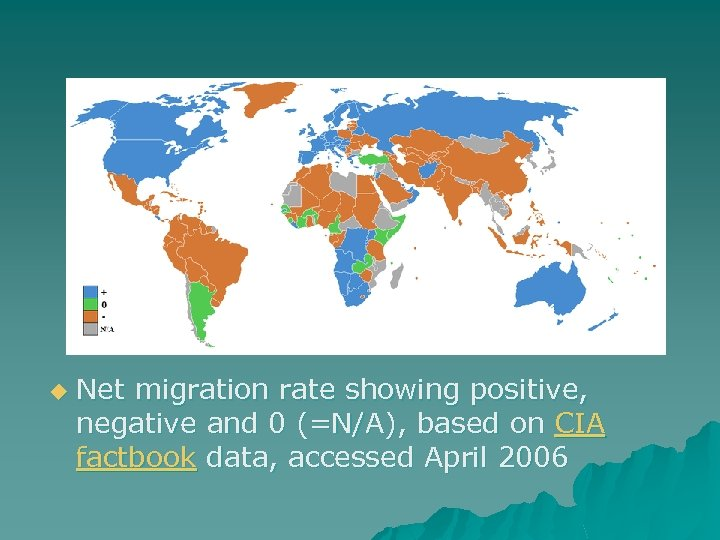 u Net migration rate showing positive, negative and 0 (=N/A), based on CIA factbook