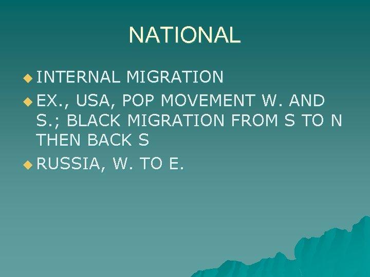 NATIONAL u INTERNAL MIGRATION u EX. , USA, POP MOVEMENT W. AND S. ;