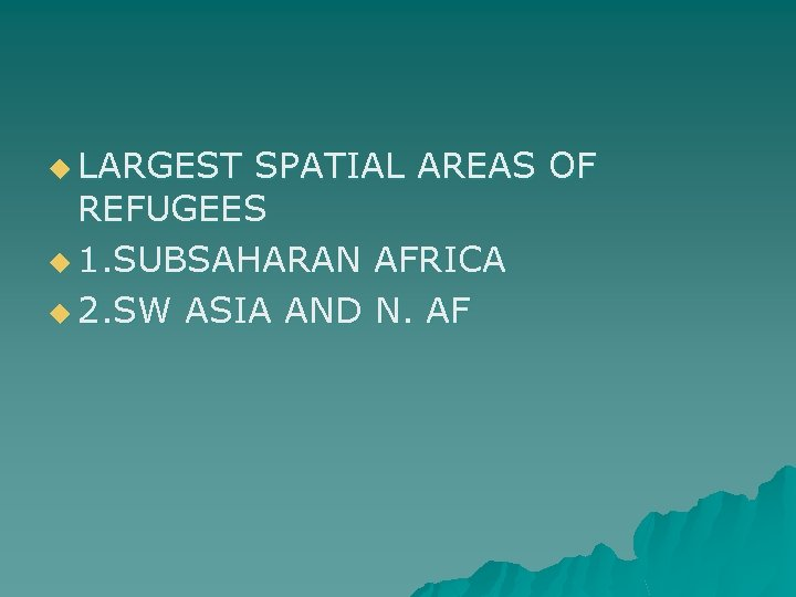 u LARGEST SPATIAL AREAS OF REFUGEES u 1. SUBSAHARAN AFRICA u 2. SW ASIA