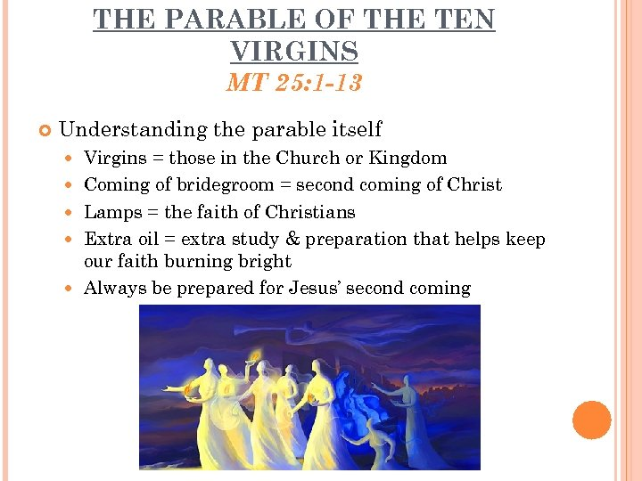 THE PARABLE OF THE TEN VIRGINS MT 25: 1 -13 Understanding the parable itself