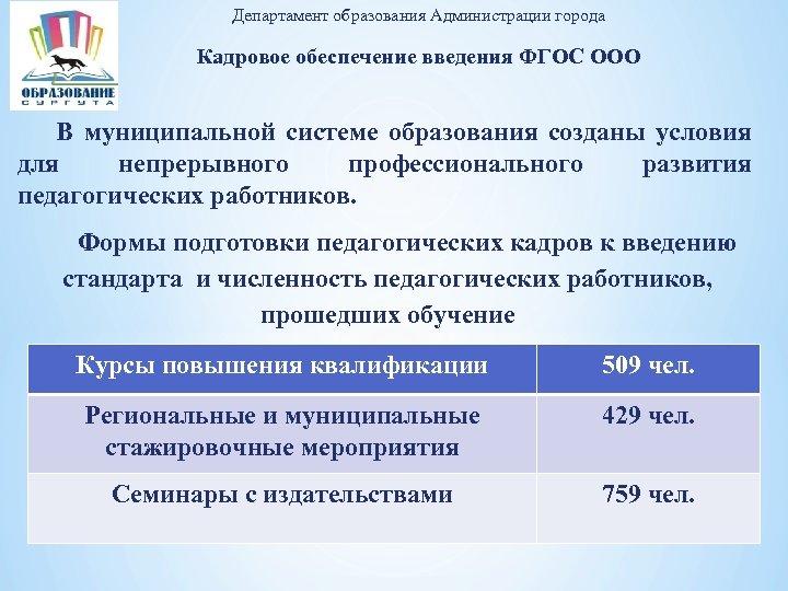 Департамент образования Администрации города Кадровое обеспечение введения ФГОС ООО В муниципальной системе образования созданы