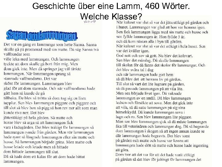 Geschichte über eine Lamm, 460 Wörter. Welche Klasse?