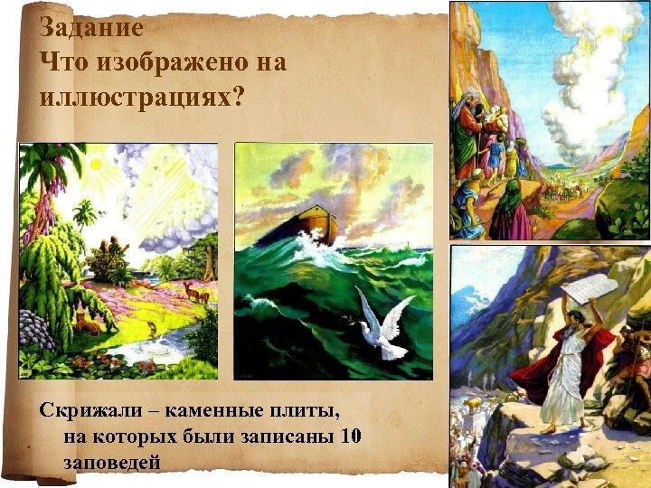 Задание Что изображено на иллюстрациях? Скрижали – каменные плиты, на которых были записаны 10