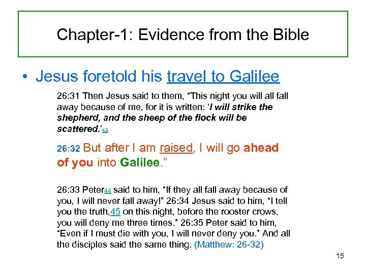Chapter-1: Evidence from the Bible • Jesus foretold his travel to Galilee 26: 31