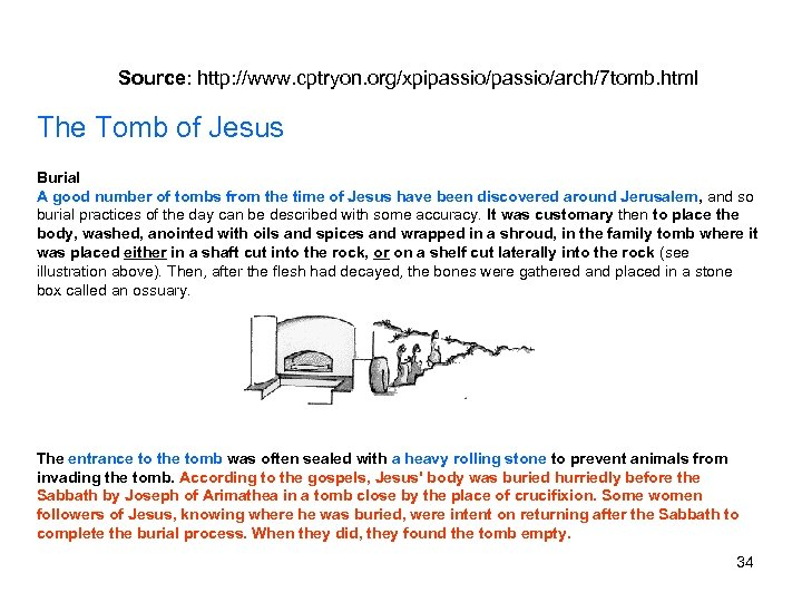 Source: http: //www. cptryon. org/xpipassio/arch/7 tomb. html The Tomb of Jesus Burial A good