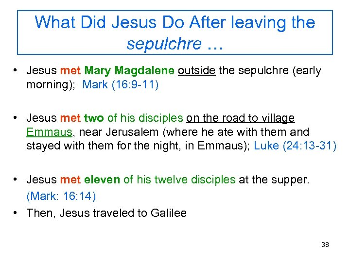 What Did Jesus Do After leaving the sepulchre … • Jesus met Mary Magdalene