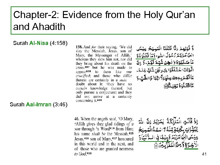 Chapter-2: Evidence from the Holy Qur'an and Ahadith Surah Al-Nisa (4: 158) Surah Aal-Imran