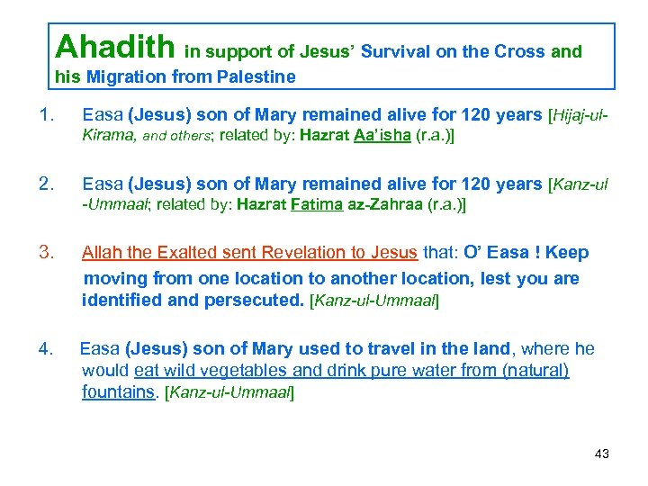 Ahadith in support of Jesus' Survival on the Cross and his Migration from Palestine