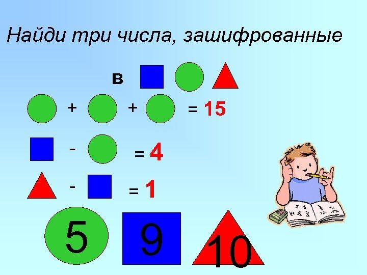 Найди три числа, зашифрованные в + - 5 + = 15 =4 =1 9