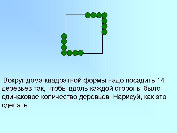 Вокруг дома квадратной формы надо посадить 14 деревьев так, чтобы вдоль каждой стороны было