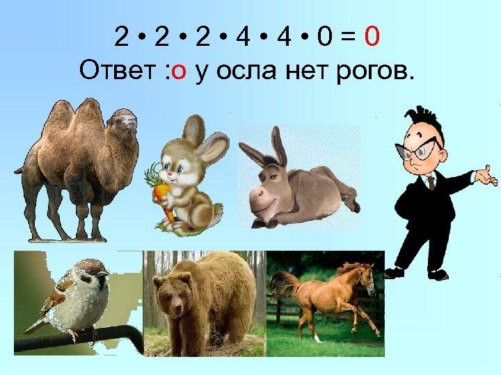 2 • 2 • 4 • 0=0 Ответ : о у осла нет рогов.