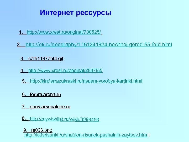Интернет рессурсы 1. http: //www. xrest. ru/original/730525/ 2. http: //eti. ru/geography/1161241924 -nochnoj-gorod-55 -foto. html