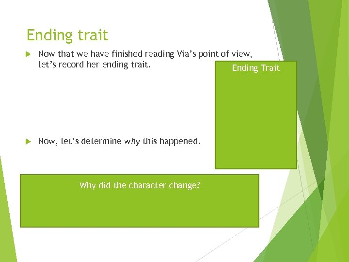 Ending trait Now that we have finished reading Via's point of view, let's record