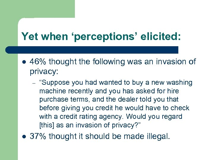 Yet when 'perceptions' elicited: l 46% thought the following was an invasion of privacy: