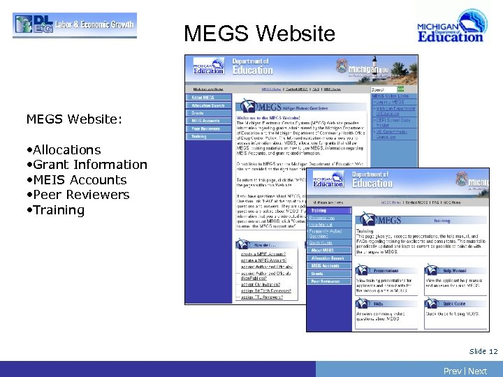 MEGS Website: • Allocations • Grant Information • MEIS Accounts • Peer Reviewers •