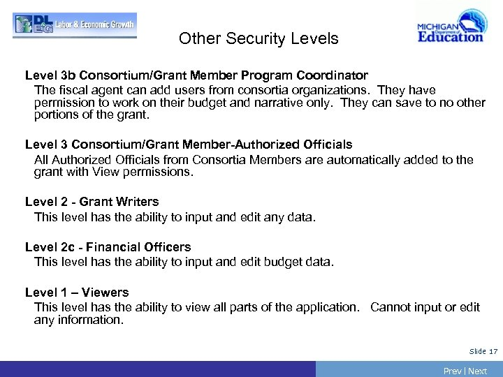 Other Security Levels Level 3 b Consortium/Grant Member Program Coordinator The fiscal agent can