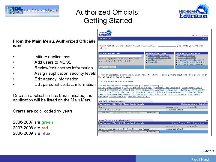 Authorized Officials: Getting Started From the Main Menu, Authorized Officials can: • • •