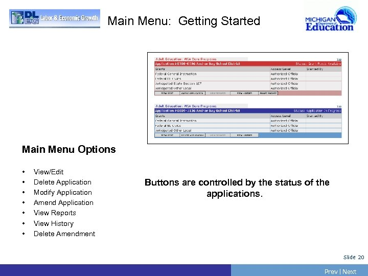 Main Menu: Getting Started Main Menu Options • • View/Edit Delete Application Modify Application
