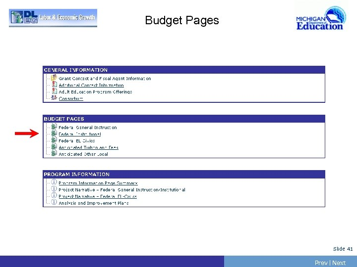 Budget Pages Slide 41 Prev | Next
