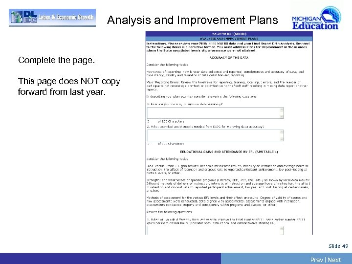 Analysis and Improvement Plans Complete the page. This page does NOT copy forward from