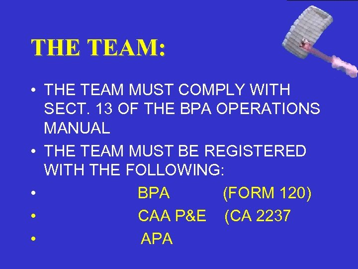 THE TEAM: • THE TEAM MUST COMPLY WITH SECT. 13 OF THE BPA OPERATIONS