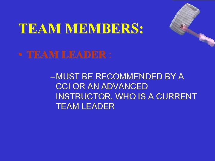 TEAM MEMBERS: • TEAM LEADER : – MUST BE RECOMMENDED BY A CCI OR