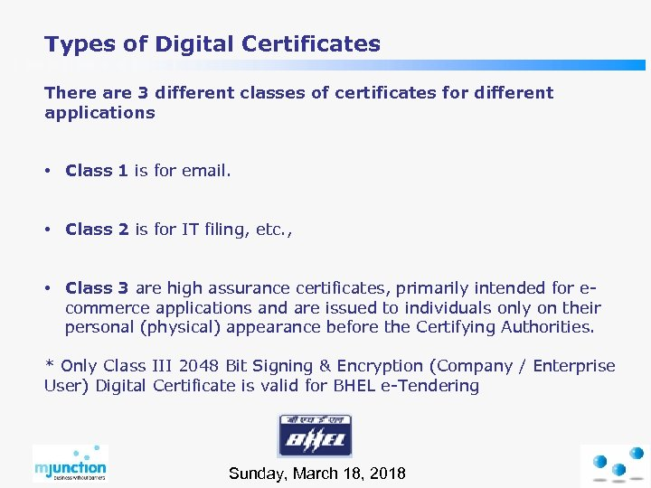 Types of Digital Certificates There are 3 different classes of certificates for different applications