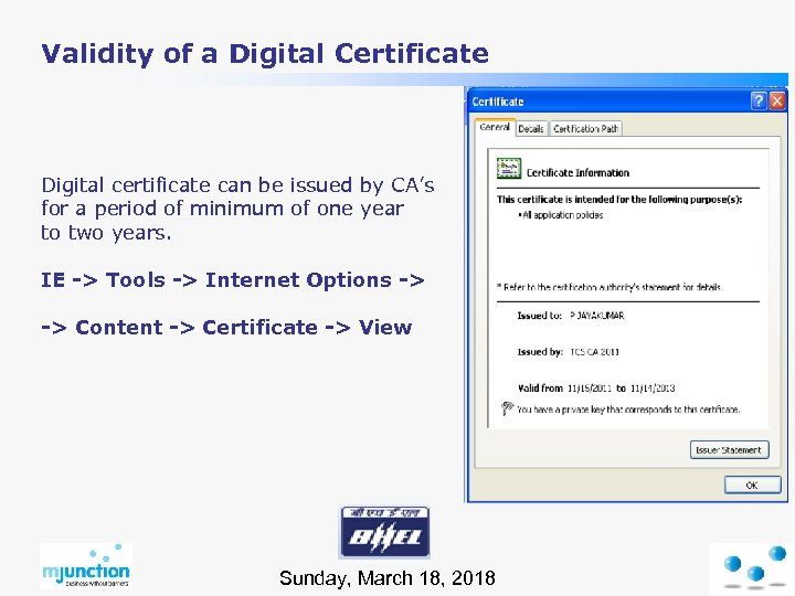 Validity of a Digital Certificate Digital certificate can be issued by CA's for a