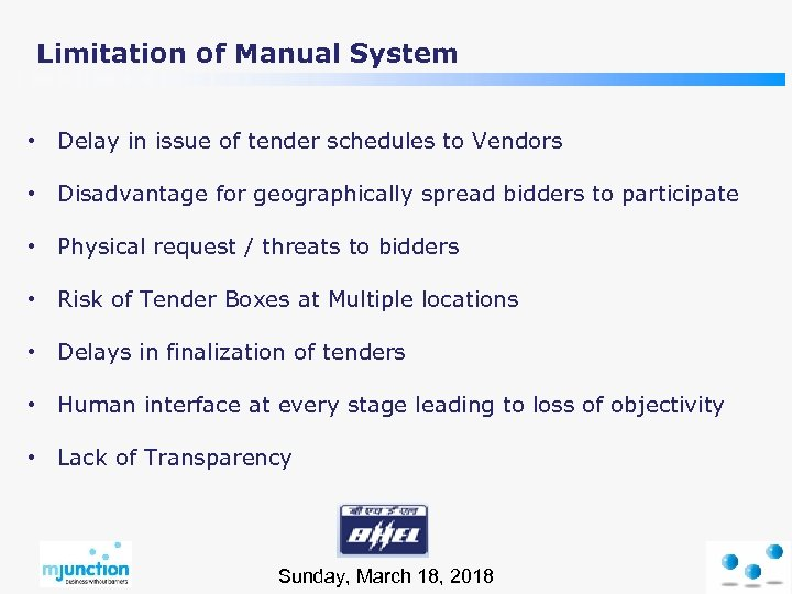 Limitation of Manual System • Delay in issue of tender schedules to Vendors •