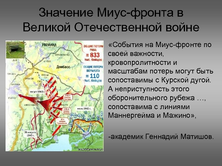 Значение Миус фронта в Великой Отечественной войне «События на Миус фронте по своей важности,