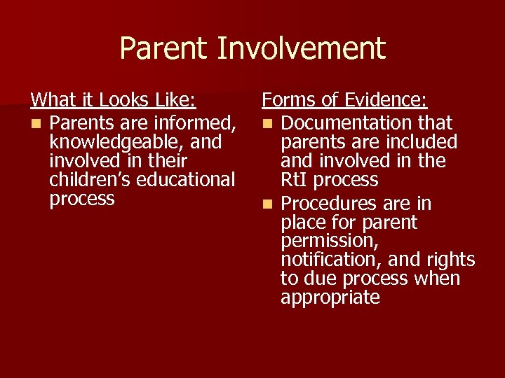 Parent Involvement What it Looks Like: n Parents are informed, knowledgeable, and involved in