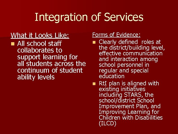 Integration of Services Forms of Evidence: What it Looks Like: n Clearly defined roles