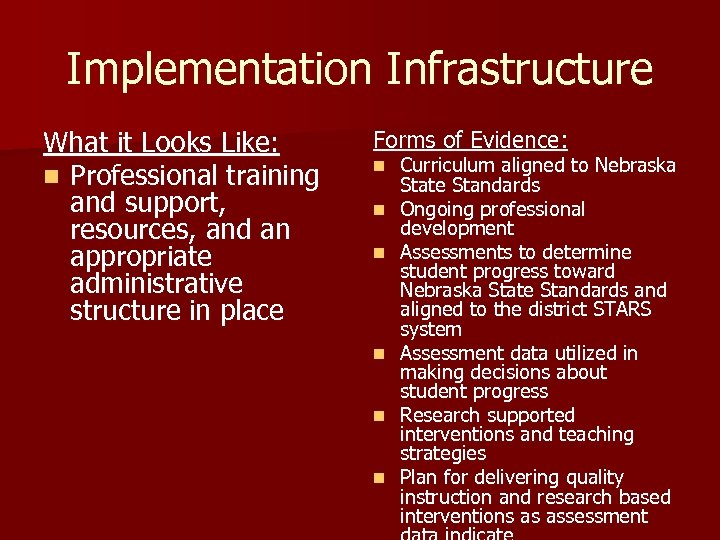Implementation Infrastructure What it Looks Like: n Professional training and support, resources, and an