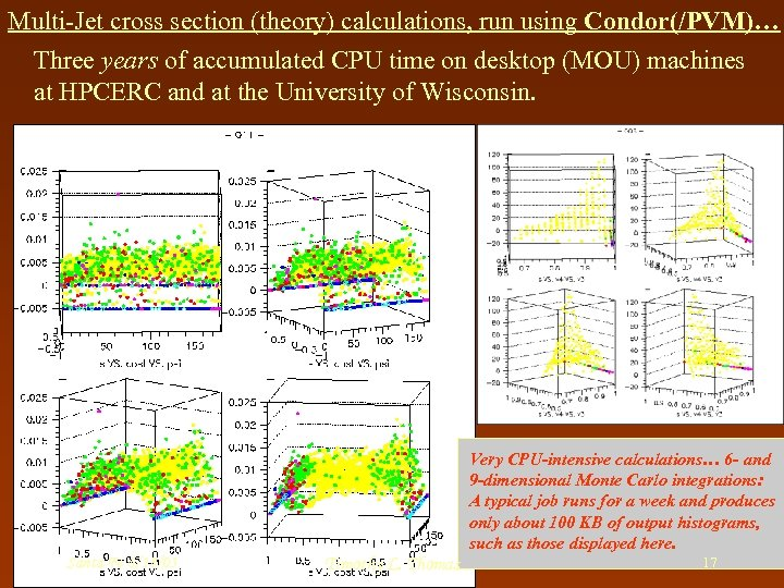 Multi-Jet cross section (theory) calculations, run using Condor(/PVM)… Three years of accumulated CPU time