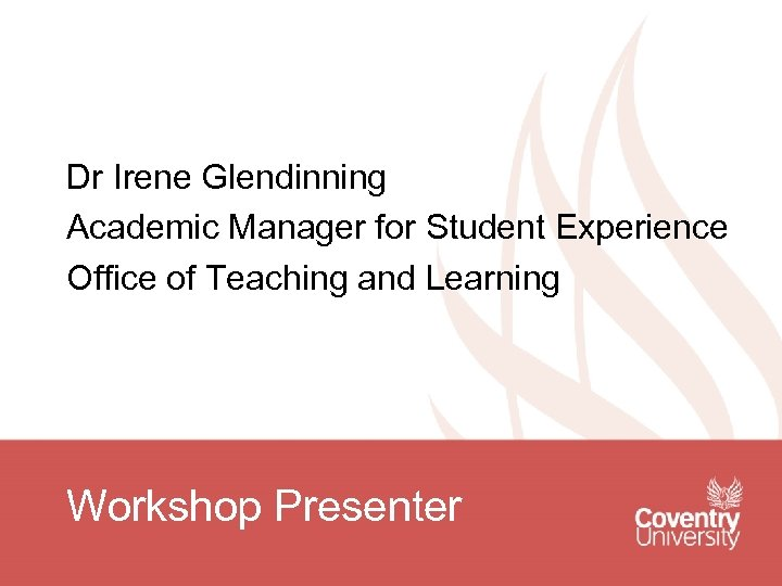Dr Irene Glendinning Academic Manager for Student Experience Office of Teaching and Learning Workshop