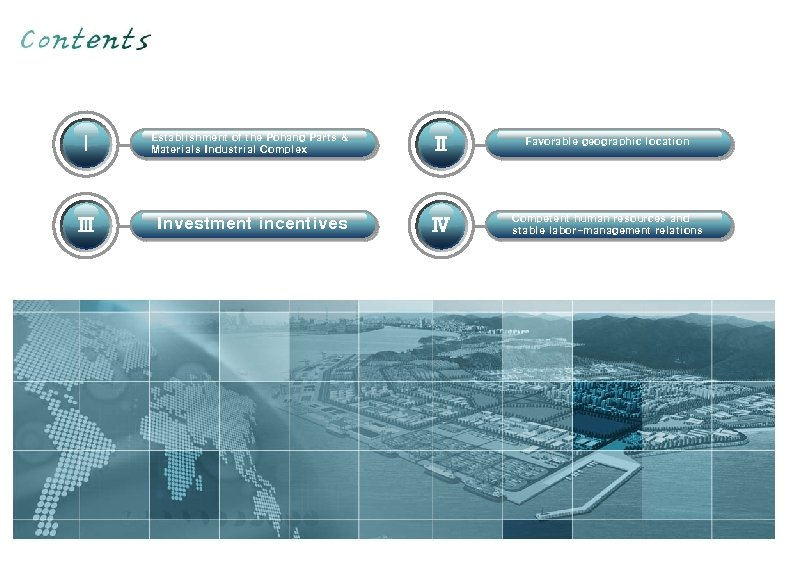 Ⅰ Establishment of the Pohang Parts & Materials Industrial Complex Ⅱ Favorable geographic location