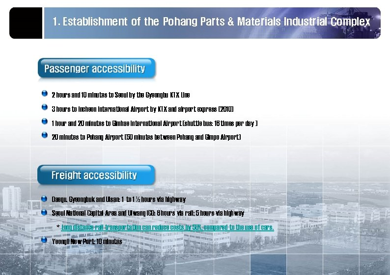 1. Establishment of the Pohang Parts & Materials Industrial Complex 2 hours and 10