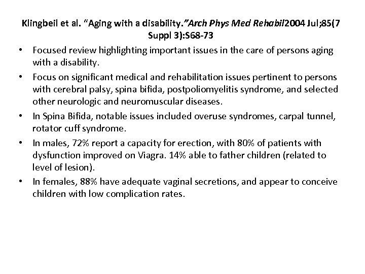 "Klingbeil et al. ""Aging with a disability. ""Arch Phys Med Rehabil 2004 Jul; 85(7"