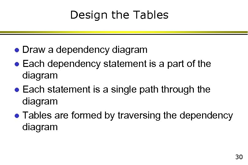 Design the Tables Draw a dependency diagram l Each dependency statement is a part