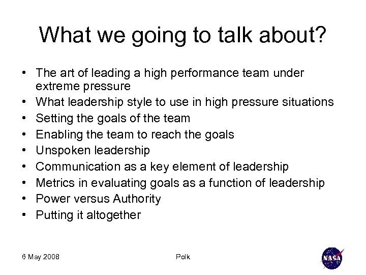 What we going to talk about? • The art of leading a high performance