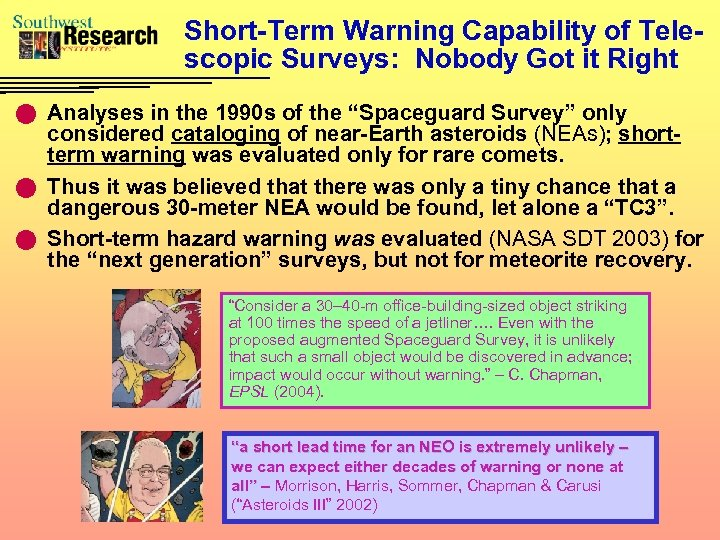 Short-Term Warning Capability of Telescopic Surveys: Nobody Got it Right n Analyses in the
