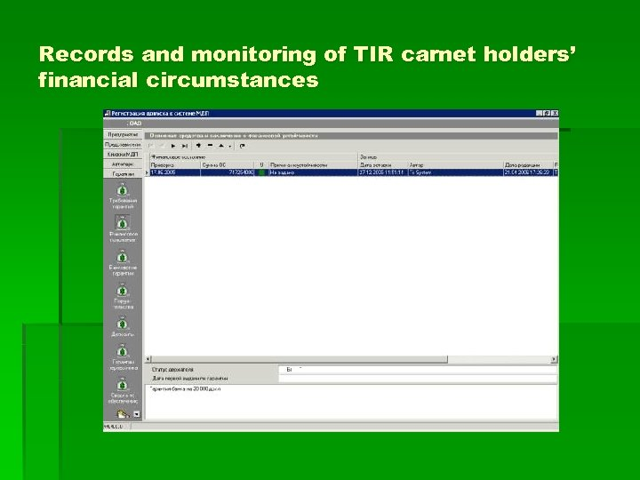 Records and monitoring of TIR carnet holders' financial circumstances
