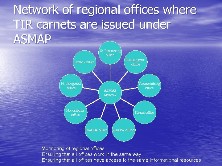 Network of regional offices where TIR carnets are issued under ASMAP St. Petersburg office
