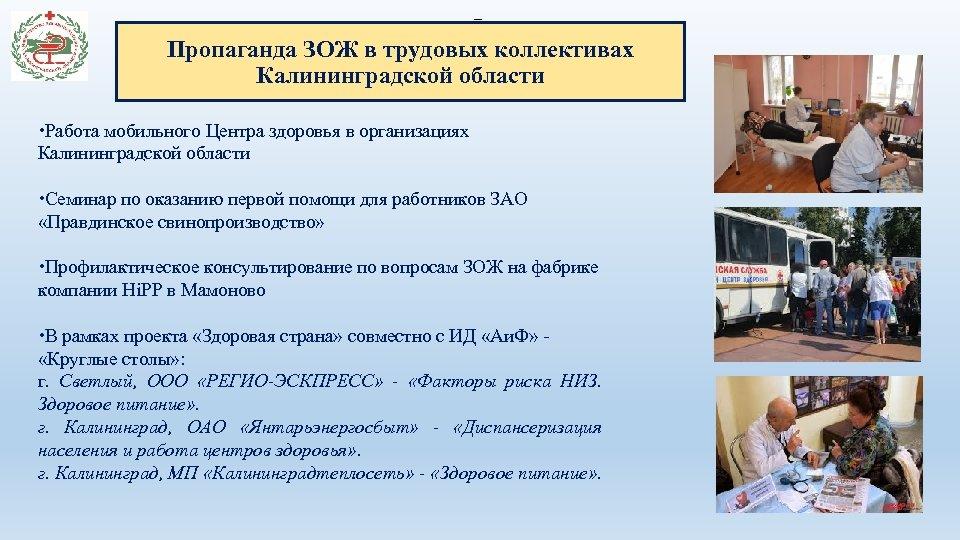 – Пропаганда ЗОЖ в трудовых коллективах Калининградской области Работа мобильного Центра здоровья в организациях